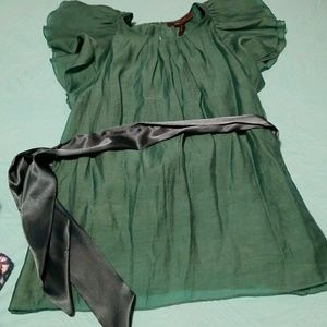 BCBG green ruffle-sleeve blouse S